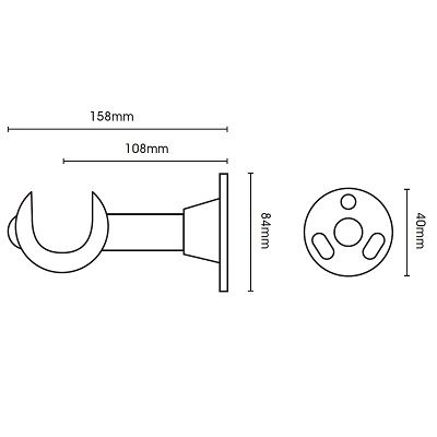 Modern Country 55mm Wooden Curtain Pole Cup Bracket - Satin Silver